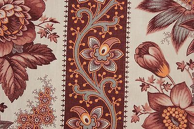 Antique Fabric French madder brown neutral picotage printed cotton circa 1870
