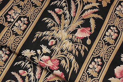Antique Fabric Black French finely woven linen & cotton wheat & floral material