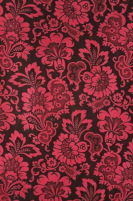 Fabric 1880 Arts & Crafts design red / black cotton printed 19th century French