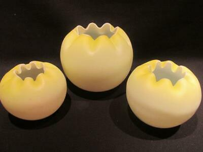 Yellow Crimp Edged Group of 3 Vintage Satin Glass Rose Bowls Different Sizes