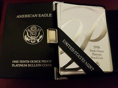 1998 W 1/10 OZ $10 Proof Platinum Eagle w/Box and COA