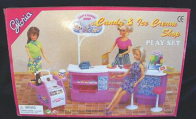 GLORIA DOLLHOUSE FURNITURE SIZE Candy& Ice-Cream PLAYSET FOR BARBIE