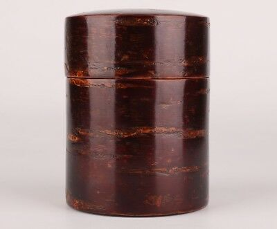 Rare China Cherry Tree Bark Box Seal Collection Home Decoration Gift