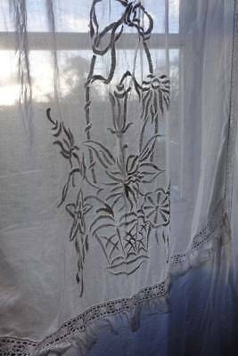 """Fabulous antique long white lawn muslin curtain panel - - embroidery & lace 96""""D"""