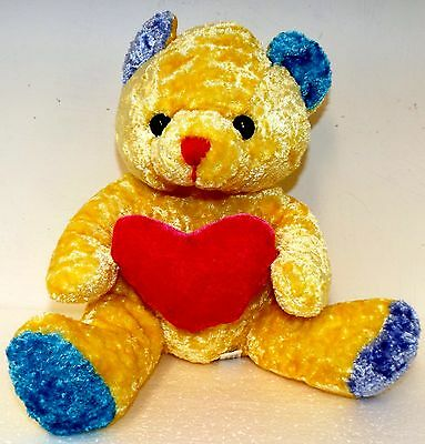 Yellow & Blue Teddy Bear With Pink Love Heart Valentines Gift Childs Soft Toy 6T