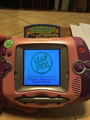 LeapFrog Leapster Learning Game System- Pink- Portable-Works! Leap Frog W/ Game
