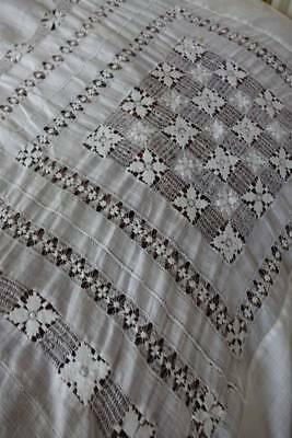 Antique white Chinese Pina linen bedspread  - lovely Tenerife lace & drawnthread