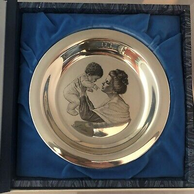 "1973 Franklin Mint Mother & Child Irene Spencer Mothers Day 8"" plate .925 Silver"