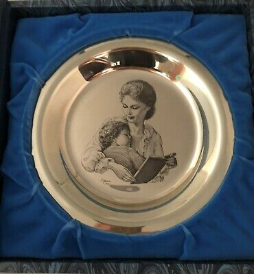 "1974 Franklin Mint Mother & Child Irene Spencer Mothers Day 8"" plate 925 Silver"