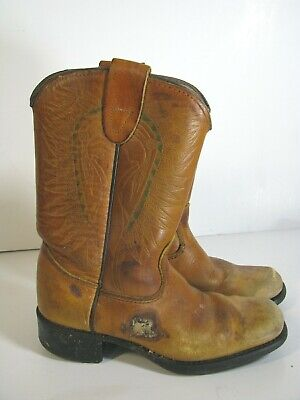 Vtg SEARS BRAND COWBOY BOOTS Western Brown Leather WORN OUT PROP DISPLAY Boys 10