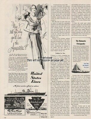 1951 SS America United States Lines Vintage Cruise Ship print Ad
