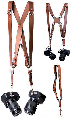 Leather Harness Dual Camera Single Strap Multi Shoulder Double Adjustable Brown