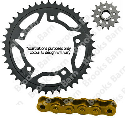 For Honda XBR500 FG,FH (42 PS) 85-86 Gold 525 X-Ring Chain (15/36 Sprocket) Kit