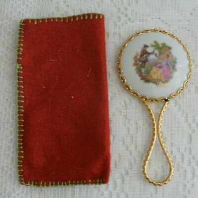 Vintage Limoges Porcelain Victorian Couple Hand Held Vanity / Purse Mirror