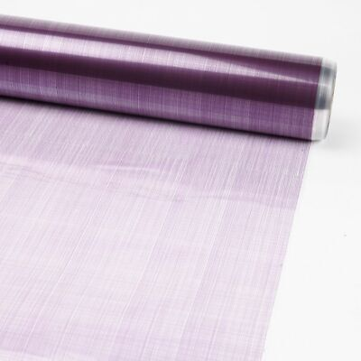 PURPLE HESSIAN PRINTED Cellophane Film on Clear Flower Gift Hamper Wrap Roll