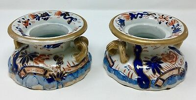 Antique Mason's Patent Ironstone China Candlesticks Pot Pourri Imari Pattern RGC