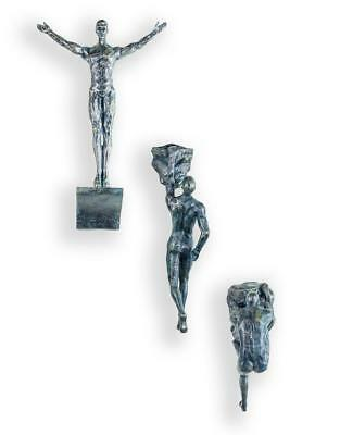 Set of 3 Large Antiqued Bronze Colour Rock Climbing Men Wall Sculpture Figures