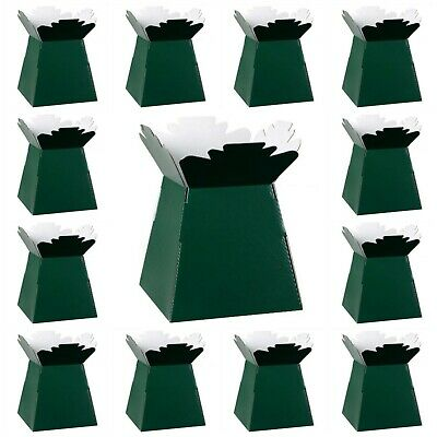 DARK GREEN Living Vases Florist Bouquet Box Flower Plant Aqua Sweet Boxes Gift