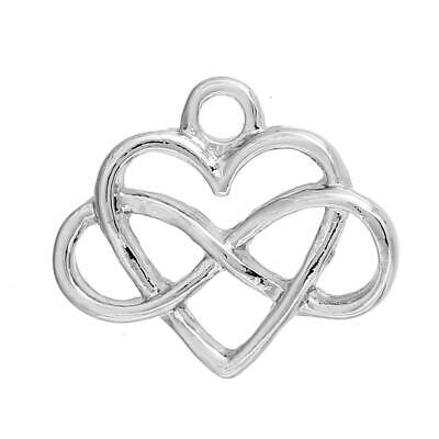 10 x Small Celtic Knot Heart Charms / Pendant, Silver-tone 16 X 14mm Valentines