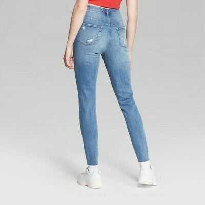Size:6 NEW Wild Fable Women/'s High-Rise Destructed Skinny Jeans Black