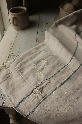 GRAIN SACK PRIMITIVE textile fabric OLD TIMEWORN hand mended patched RUSTIC