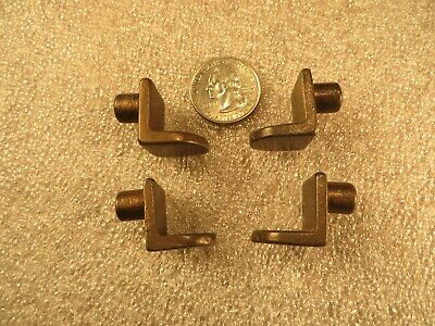 4 Antique Heavy Duty Solid Brass L Drill in Style Library Shelf Supports Vintage