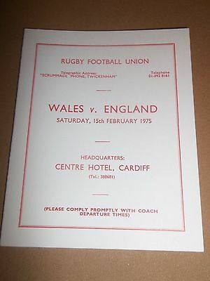 Rugby Union Wales V England Coach Timetable For Committee 1975