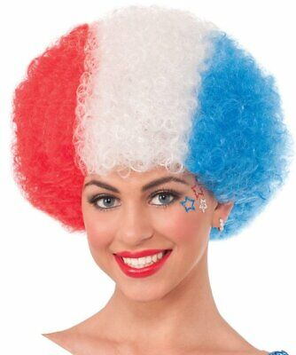 Patriotic Red White Blue Afro Wig USA American July 4 Costume Accessory