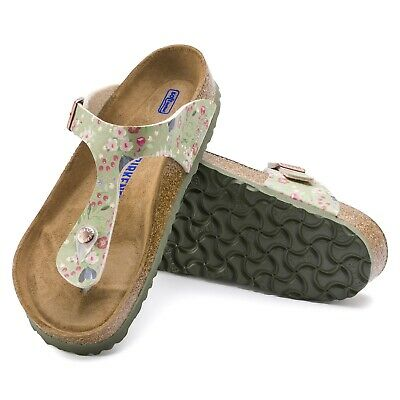 69be5eaa361ca4 BIRKENSTOCK GIZEH WEICHBETTUNG normal meadow flowers khaki 1012772 ...