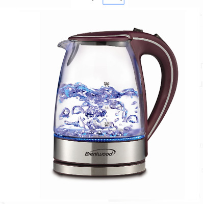 Tempered Glass Coffee Tea Kettle Hot Water Electric Cordless 1.7L LED Light