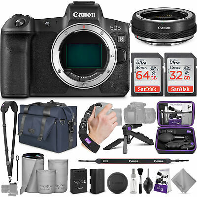 Canon EOS R Mirrorless Camera Body w/Canon Mount Adapter EF-EOS R & Bundle