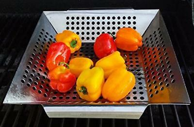 Vegetable Grill Basket Stainless Steel BBQ Accessories for Veggies, Fish, Meat