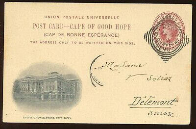 Cape Of Good Hope 1899 Victoria Illustrated Parliement Post Card To Europe.a448
