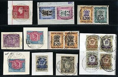 South Africa Early Kgvi Qeii & Arms Revenues Used On Piece.  A443