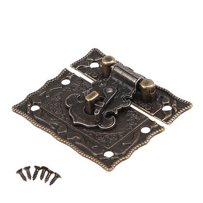 Retro Vintage Cabinet Latch Hasp Lock Jewelry Wooden Box Case Chest with Screws