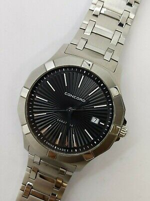 CONCORD SARATOGA, QUARTZ, Date, Stainless, Box, AWESOME