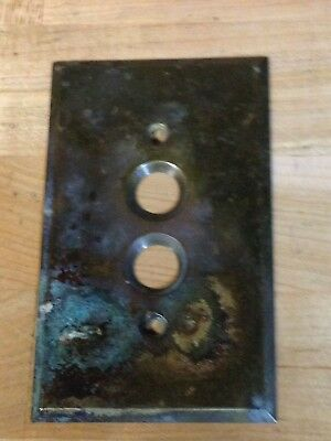 Antique Vintage Brass Perkins1903 Push Button Light Switch Plate Part