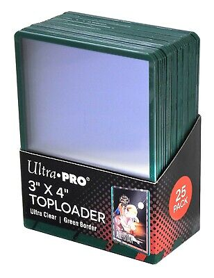 (250) Ultra Pro Green Border Topload Card Holder Toploader ACEO + Free Sleeves