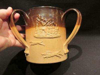 """Hunting Motif Large 3-Handled Loving Cup Possibly Lambeth Ware 5.5 X 8"""""""