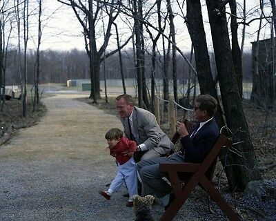 President John F. Kennedy with Red Fay and JFK Jr. at Camp David New 8x10 Photo