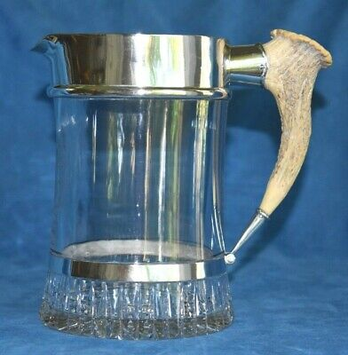 LG Antique Antler Handle THEODORE STARR Sterling Silver Ale Beer Tankard Pitcher