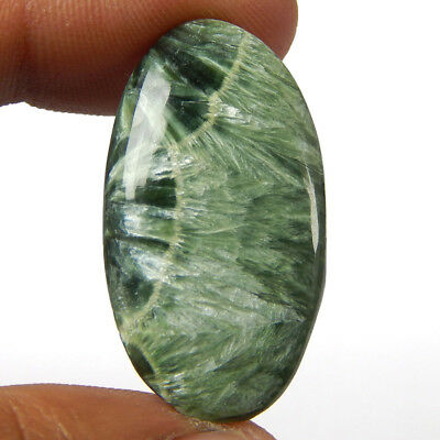 18.20 Cts Natural Green Seraphinite Oval Shape Cabochon Loose African Gemstone