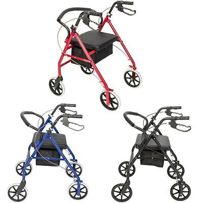 NEW Lightweight Aluminum Rollator Foldable Walker with Wheels Soft Seat