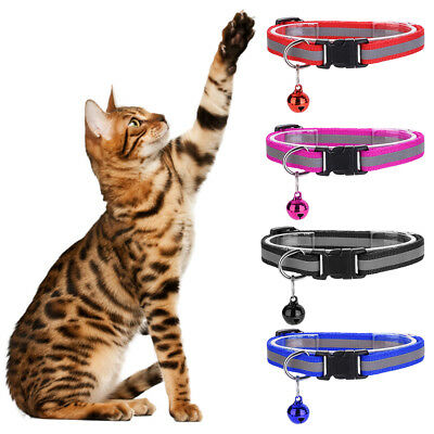 Pet Cat Dog Reflective Collar Flashing Light Up Nylon Night  Collars NEW