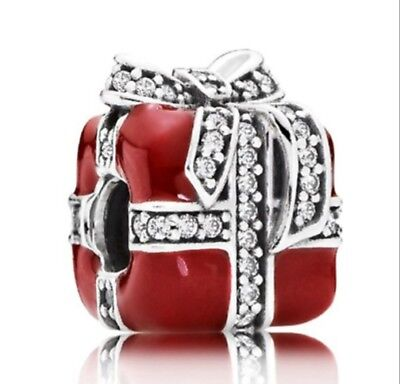 Authentic Pandora Red Sparkling Surprise Charm Bead Real S925 Sterling Silver
