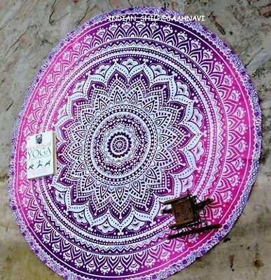 Indian Ombre Hippie Mandala Round Beach Throw Table Cover Tapestry Cotton Mat 57