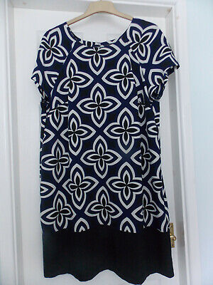 Bnwt Marks And Spencer Size 20 Navy Blue Knee Legnth Shift Dress