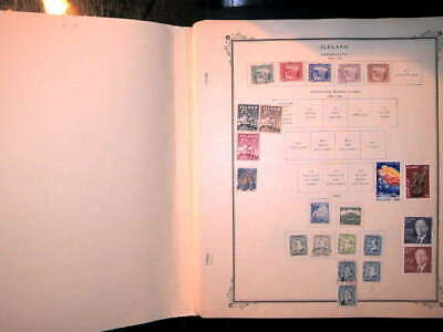 Iceland Collection On Scott Album Pages, Both Mint An Used