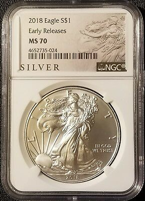 2018 American Silver Eagle 1oz .999 Fine Silver Bullion  NGC MS70 Early Releases