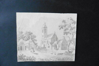 DUTCH SCHOOL 19thC - ANIMATED VILLAGE SCENE ROORDAHUZUM - SIGNED INK DRAWING